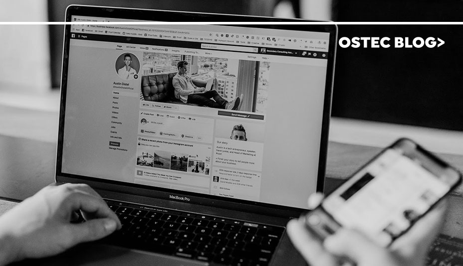 Redes sociais abertas em notebook e celular