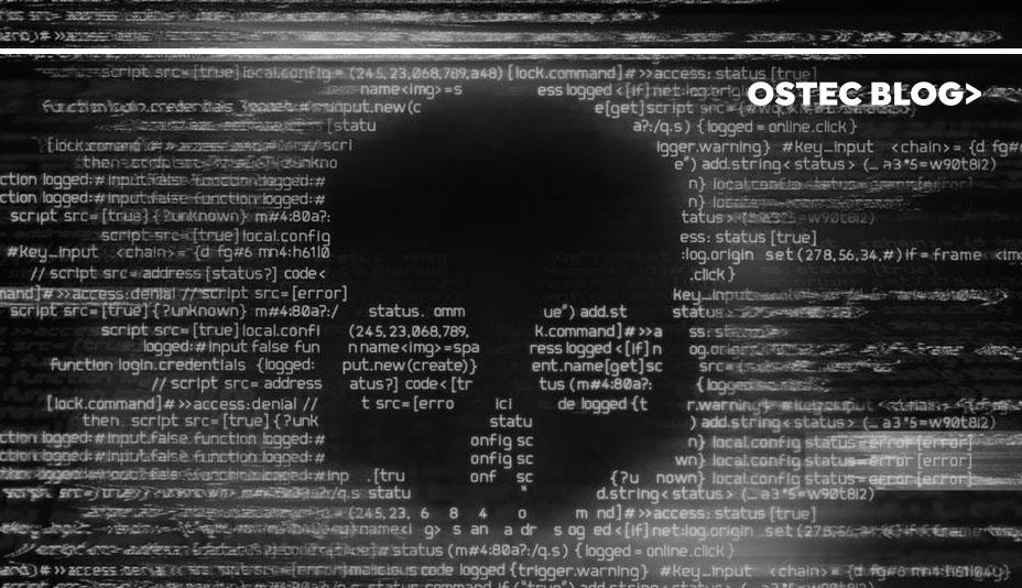 Caveira feita com palaras utilizadas em linguagem de programação. A caveira representa um ransomware
