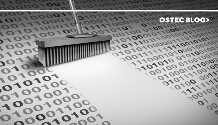Vassoura varrendo números binários, simulando data loss prevention