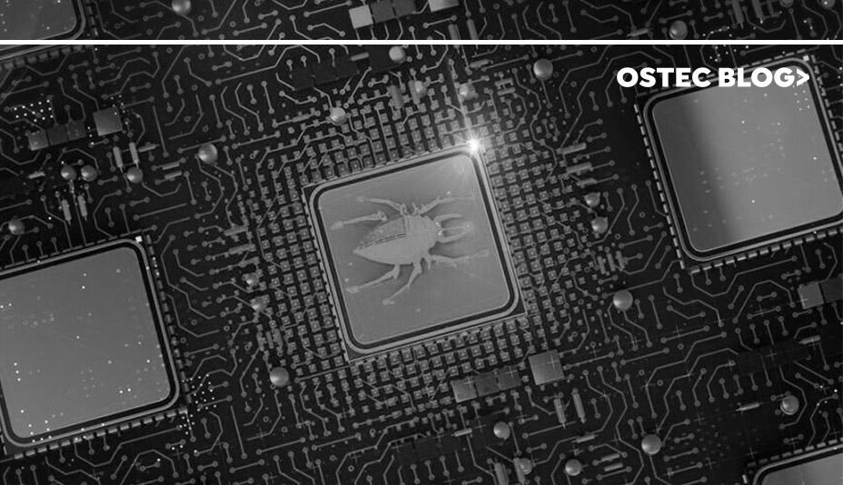 Besouro desenhado em uma placa de servidor