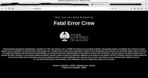 Print da tela de um site que exibe uma mensagem escrita em branco num fundo preto.