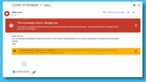 Captura de tela de e-mails fraudulentos, com destaques em vermelho e amarelo.