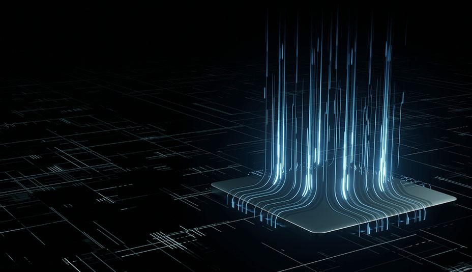 Imagem vetorizada com traços de luzes azuis saindo de uma placa com fundo preto.
