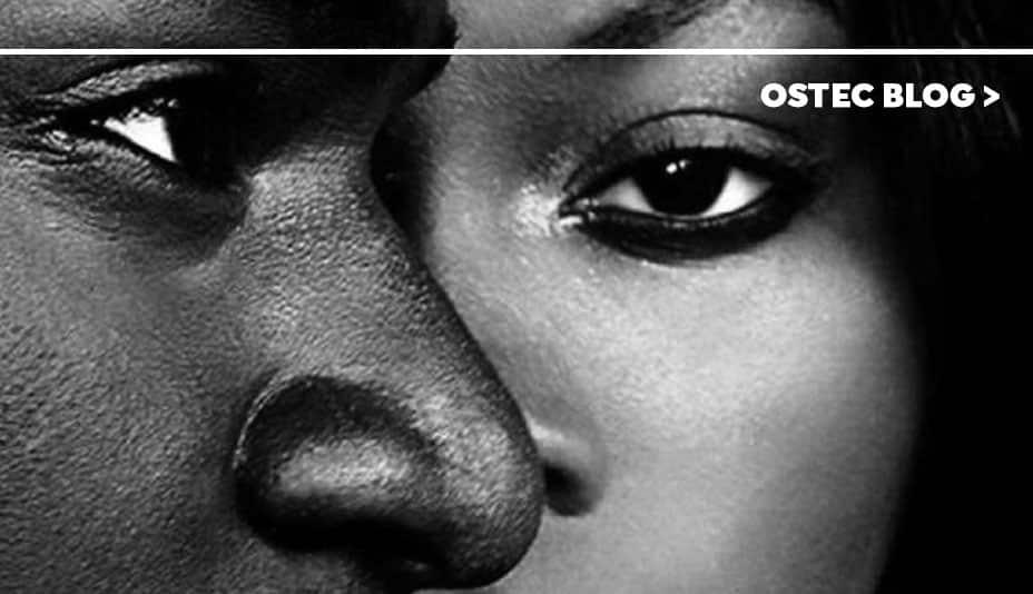 Close em perfil de rosto de homem cobrindo metade do rosto de uma mulher.