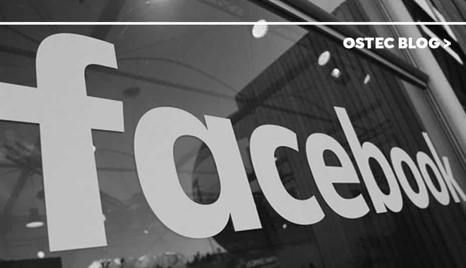 Fachada de empresa onde se pode ler facebook.