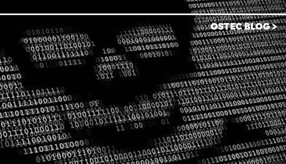 Código binário formando o desenho de uma caveira.
