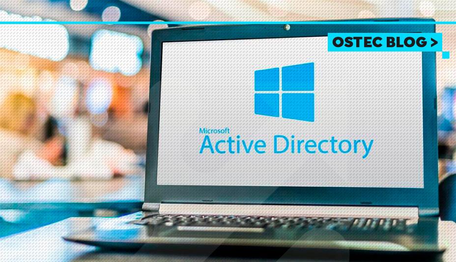 Active directory aberto em laptop
